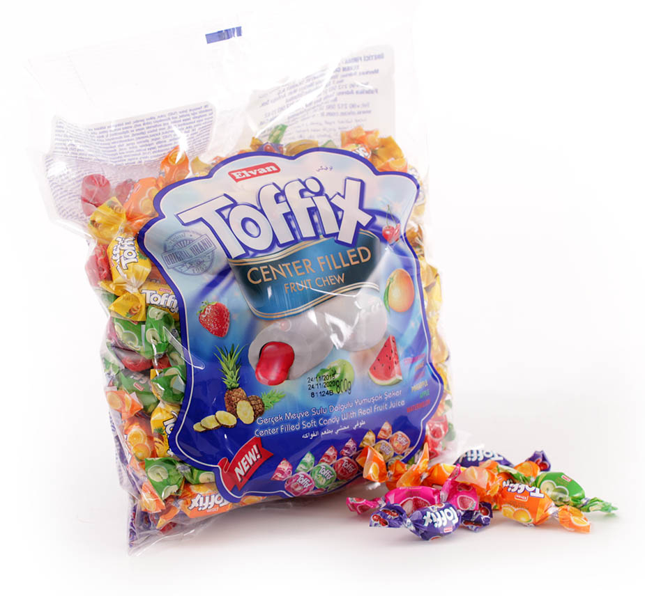 Toffix Centerfilled Fruit Chew 800 g Påse